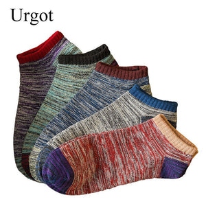 Urgot 10pcs=5 Pairs New 2020 Men Short Socks Vintage Nation Style Casual Ankle Socks Mens Male Low Cut Male Boat Socks Sox Meias