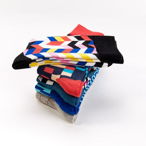 Urgot 5 Pairs Men's Socks Comfort Cotton Geometric Pattern Socks Personality Fashion Tube Breathable Durable High Quality Socks