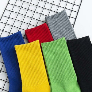 Urgot 5 Pairs Men's Large Size EUR45,46,47 Socks Pure Color Thicked Long Tube Cotton Socks Sports Towel Bottom Casual Terry Sock