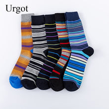 Load image into Gallery viewer, Urgot 5 Pairs Men's Socks EUR 39-46 Large Size Striped Socks Casual Cotton Fashion Street Trends Long Tube Socks Wholesale Meias