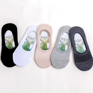 Urgot 5 Pairs Mens Shallow Mouth Invisible Socks Cotton Summer Mesh Thin Boat Socks Silicone Non-slip Breathable Deodorant Socks