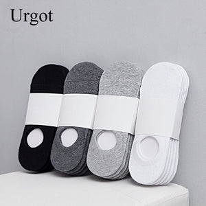 Urgot 5 Pairs Fashion Happy Men Boat Socks Summer Autumn Non-slip Silicone Invisible Cotton Socks Male Ankle Sock slippers Meias