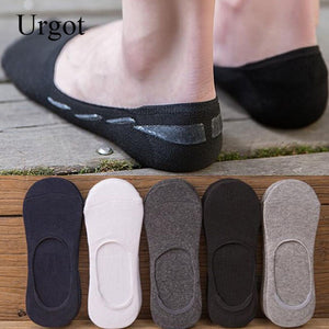 Urgot 5 Pairs Men's Socks Wholesale Summer Silicone Non-Slip Socks Slippers Invisible Boat Socks Men Cotton Male Boys Sock Meias