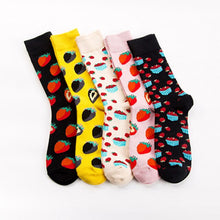 Load image into Gallery viewer, Urgot 5 Pairs Men's Socks Plus Size EUR41-46 Autumn Winter New Socks Cotton Strawberry Pattern Socks Personality Tube Tide Socks