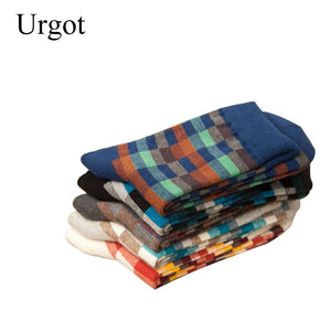 Urgot 5 Pairs Autumn And Winter New Cotton Men's Socks Plaid Gentleman Socks Casual Business Medium Tube Men's Socks Meias Male