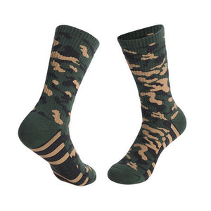 Urgot 3 Pairs Men's Thick Towel Bottom Socks Sweat-Absorbent Wear-Resistant Camouflage Socks Comfort Breathable Sports Socks