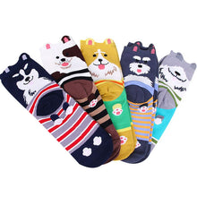 Load image into Gallery viewer, Women Short Socks 5 Pairs=10 Pcs Creative Individual Cute Cartoon Cats Pattern High Quality Cotton Socks Comfortable Warm Meias