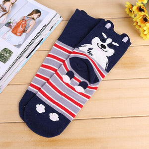 Women Short Socks 5 Pairs=10 Pcs Creative Individual Cute Cartoon Cats Pattern High Quality Cotton Socks Comfortable Warm Meias