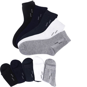 5 Pairs Men Solid Color Short Socks Mature Fashion Simple Cotton Male Socks Summer Breathable Deodorant Absorb Sweat Calcetines