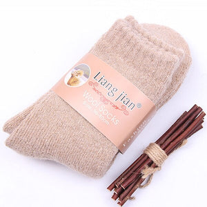 Winter Rabbit Wool Thickening Warm Socks Women Pure Solid Color Thermal Sock Ultra Thick Female Meias Socks Calcetines Eur 36-40