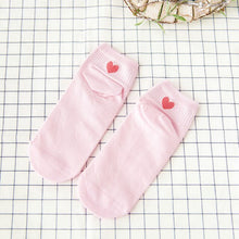 Load image into Gallery viewer, 5 Pairs Girl Ankle Socks Lovely Vintage Candy Color Red Love Heart Women Cotton Sock Summer Autumn Breathable Student Funny Sock