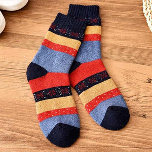 Urgot 5 Pairs Funny Colorful Men Socks Vintage Striped Totem Teenager Wool Blend Warm Winter Socks Men Suit Business Socks Women