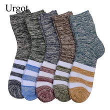 Load image into Gallery viewer, Urgot 5 Pairs New Trend Men's Long Tube Plus Velvet Cotton Winter Socks Ethnic Style Casual Striped Socks Men Calcetines Hombre