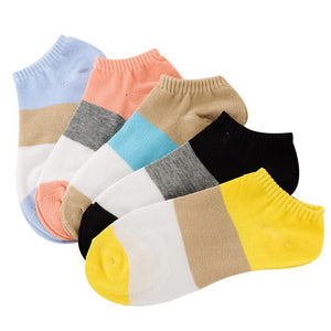5 Pairs/lot Women Sock Colorful Patchwork Girls Cotton Ankle Black Sock Summer Spring Casual Female Funny Sock Meias calcetines