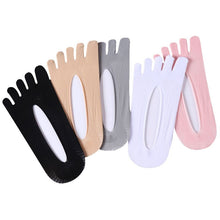 Load image into Gallery viewer, 5 Pairs Summer Thin Women Toe Socks Solid Color Silicone Deodorant Ankle Five Finger Summer Dress Boat Socks Cool Girls Hosiery