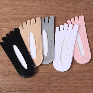 5 Pairs Summer Thin Women Toe Socks Solid Color Silicone Deodorant Ankle Five Finger Summer Dress Boat Socks Cool Girls Hosiery