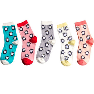 Urgot 5 Pairs Women's Socks Harajuku Funny Happy Cartoon Penguin Design Socks Women Combed Cotton Comfort Sock Calcetines Meias