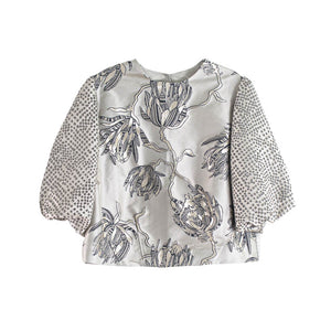 The Jill Blouse - Silvery Blossoms