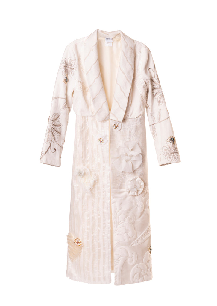 The Anna Coat - Appliques on White