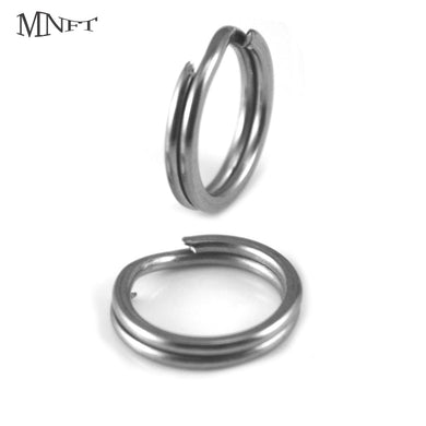 100-200Pc Stainless Steel Double Split Ring Mixed Size Round Oval Fishing Tackle