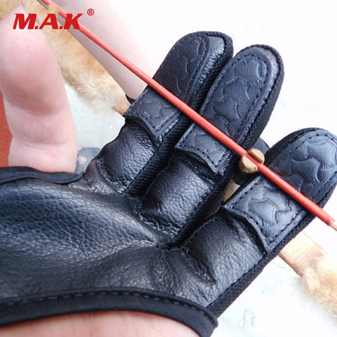 3 Finger Leather Reinforced Archery Gloves