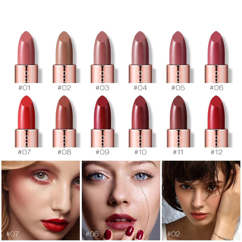 O.TWO.O 12PCS Plum Blossom Lipstick Nude Rich Color Waterproof Moisturizer Soft Comfortable Lips Makeup Set