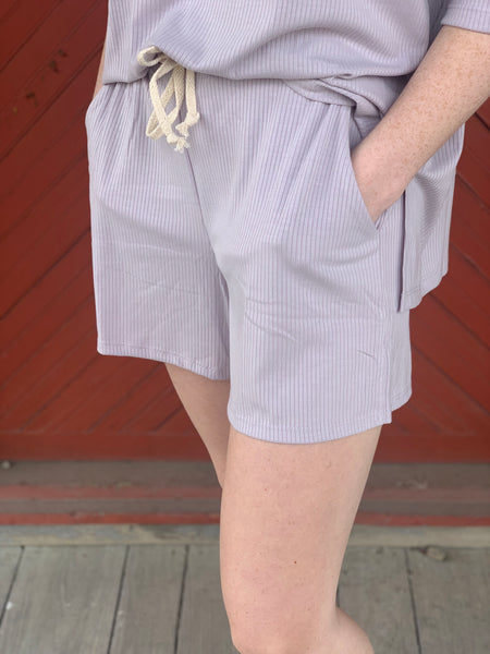 Lavender Ribbed Drawstring Lounge Shorts