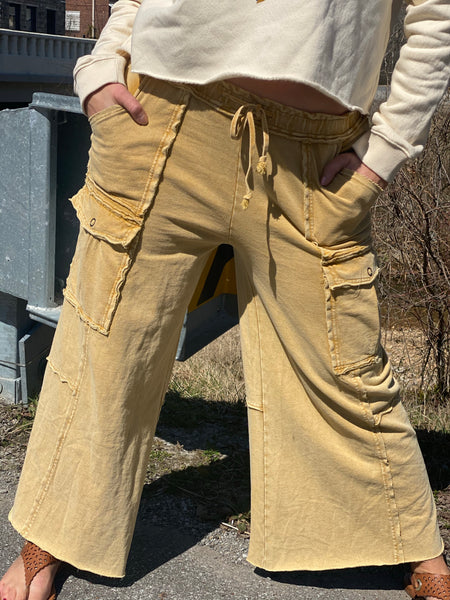 Camel Mineral Wash Wide Leg Pants
