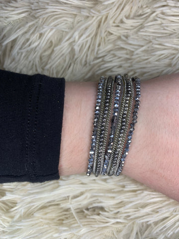 Gray Strand Beaded Magnetic Bracelet