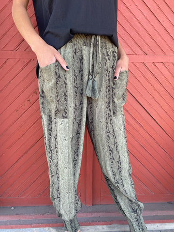 Faded Olive Paisley Silky Joggers