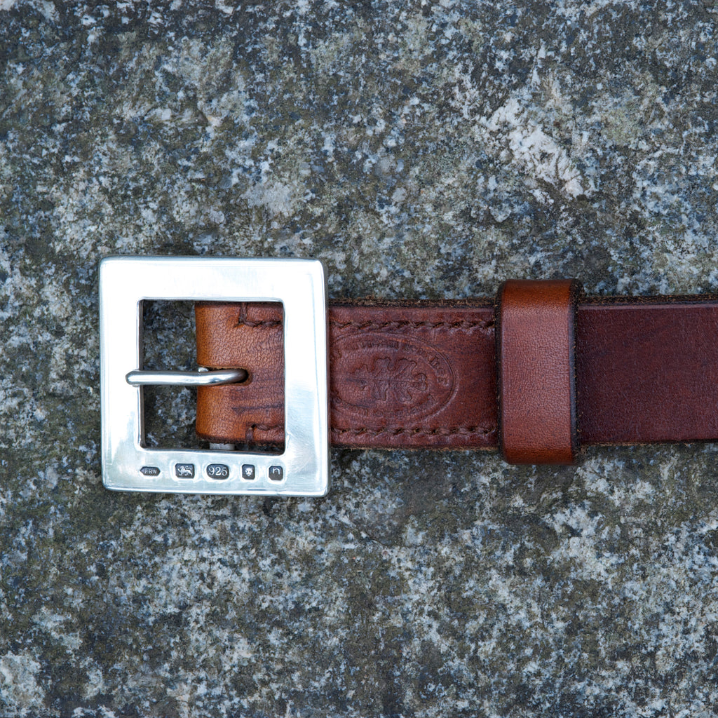 "The Solid Silver 1.25"" Fingle Buckle Belt"
