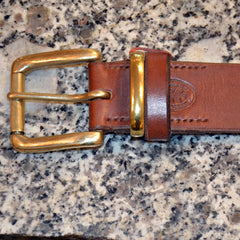 "Bellever Oak Bark Tan 1.5"" belt with brass keeper"