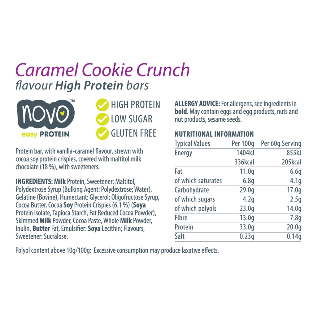 Caramel Cookie Crunch Low Sugar Easy Bar - Box of 12x 60g bars
