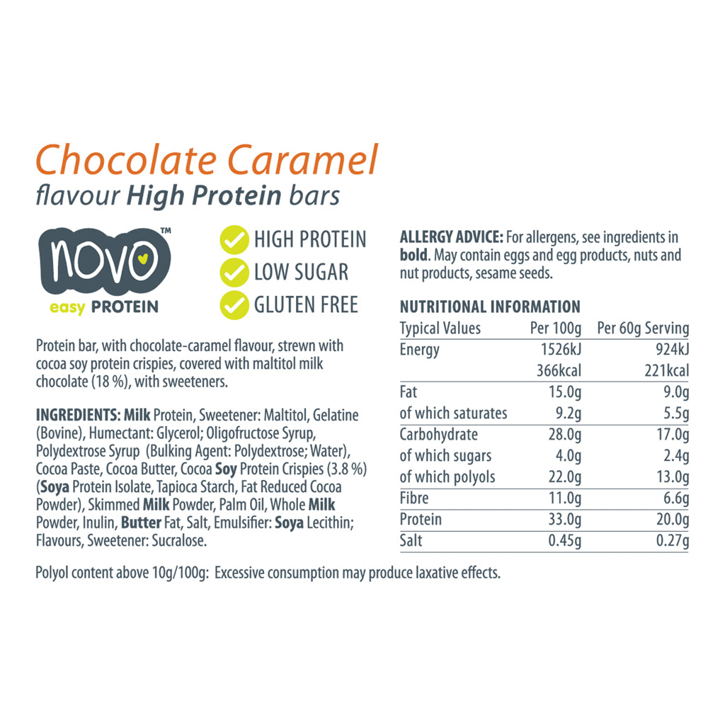 Chocolate Caramel Low Sugar Easy Bar - Box of 12x 60g bars