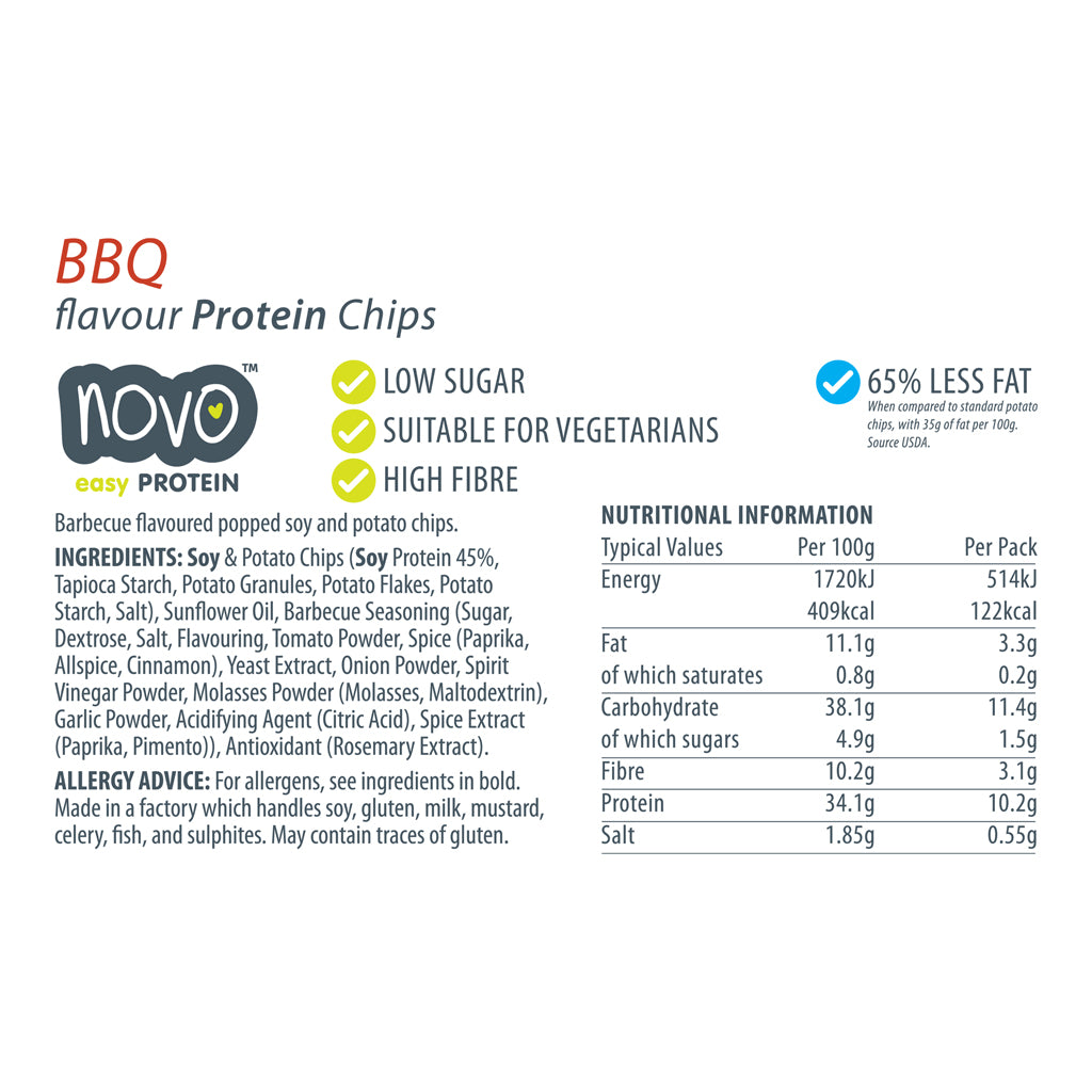 BBQ flavoured Protein Chips - Box of 6x 30g bags