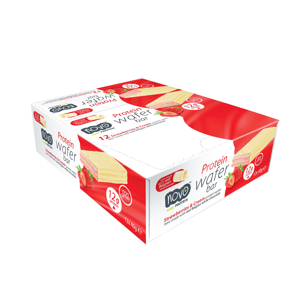 Strawberries & Cream flavoured Protein Wafer - Box of 12x 40g bars