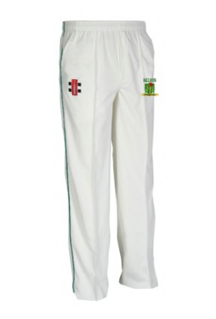 BELHUS CC SENIOR MATRIX CRICKET TROUSERS GREEN TRIM
