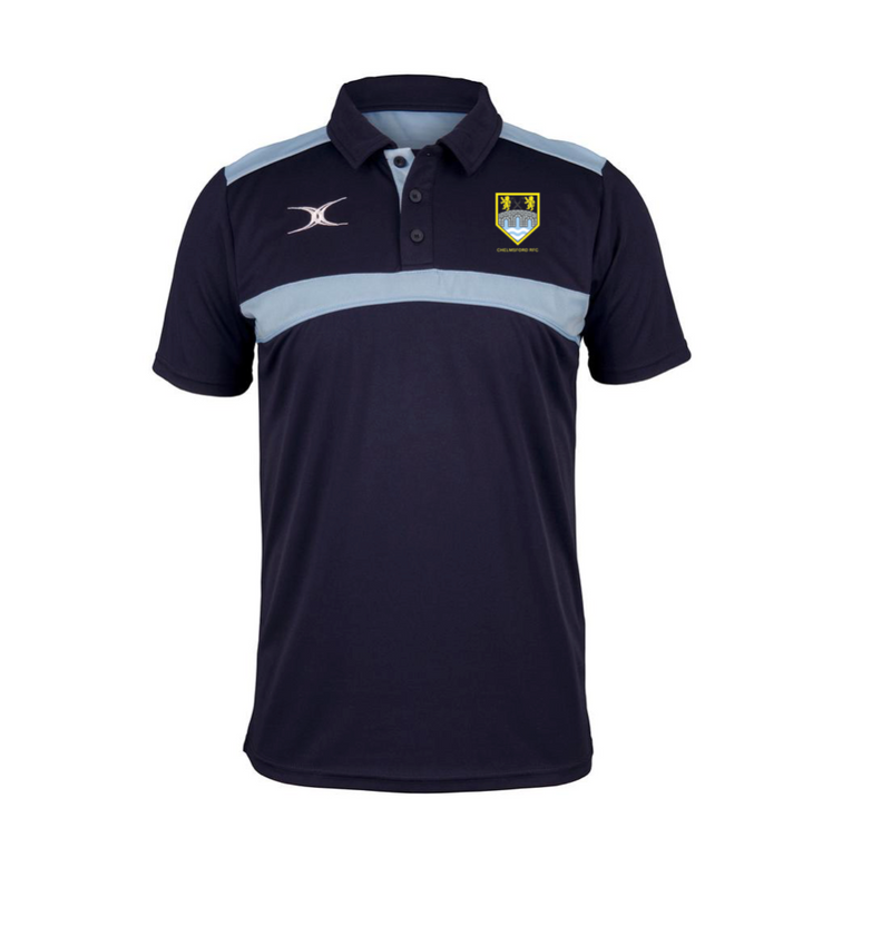 CHELMSFORD RFC SENIOR GILBERT PHOTON POLO SHIRT NAVY/SKY