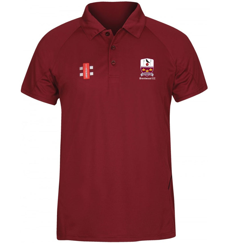 Gray Nicolls Brentwood CC SENIOR Matrix Polo Shirt in Maroon