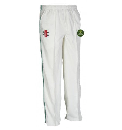 RANKIN'S CC JUNIOR MATRIX CRICKET TROUSERS GREEN TRIM