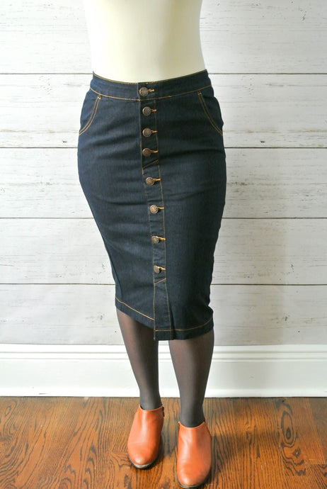 Dark button down skirt - MODESTALINDA
