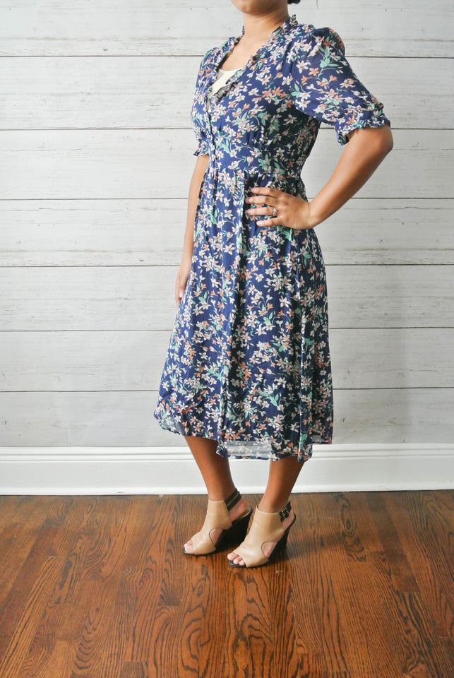 Navy Blue Floral Midi Dress - MODESTALINDA