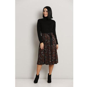 Brown floral skirt - MODESTALINDA