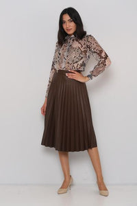 Brown Mock Leather Pleated