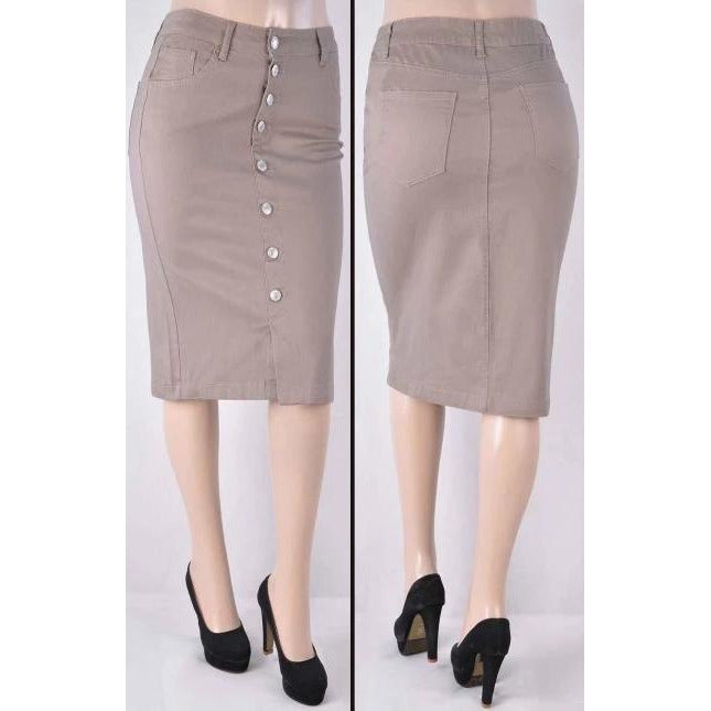 Tan button down skirt - MODESTALINDA