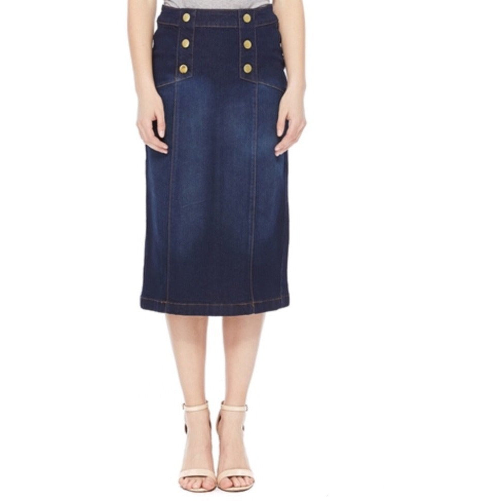 Plus size dark denim skirt - MODESTALINDA