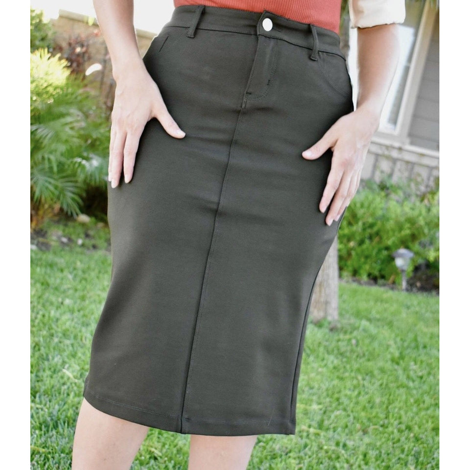 Olive green pencil skirt - MODESTALINDA