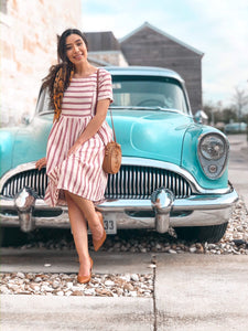 Striped fit and flare dress - MODESTALINDA
