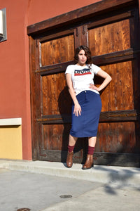 Navy Blue Pencil Skirt - MODESTALINDA