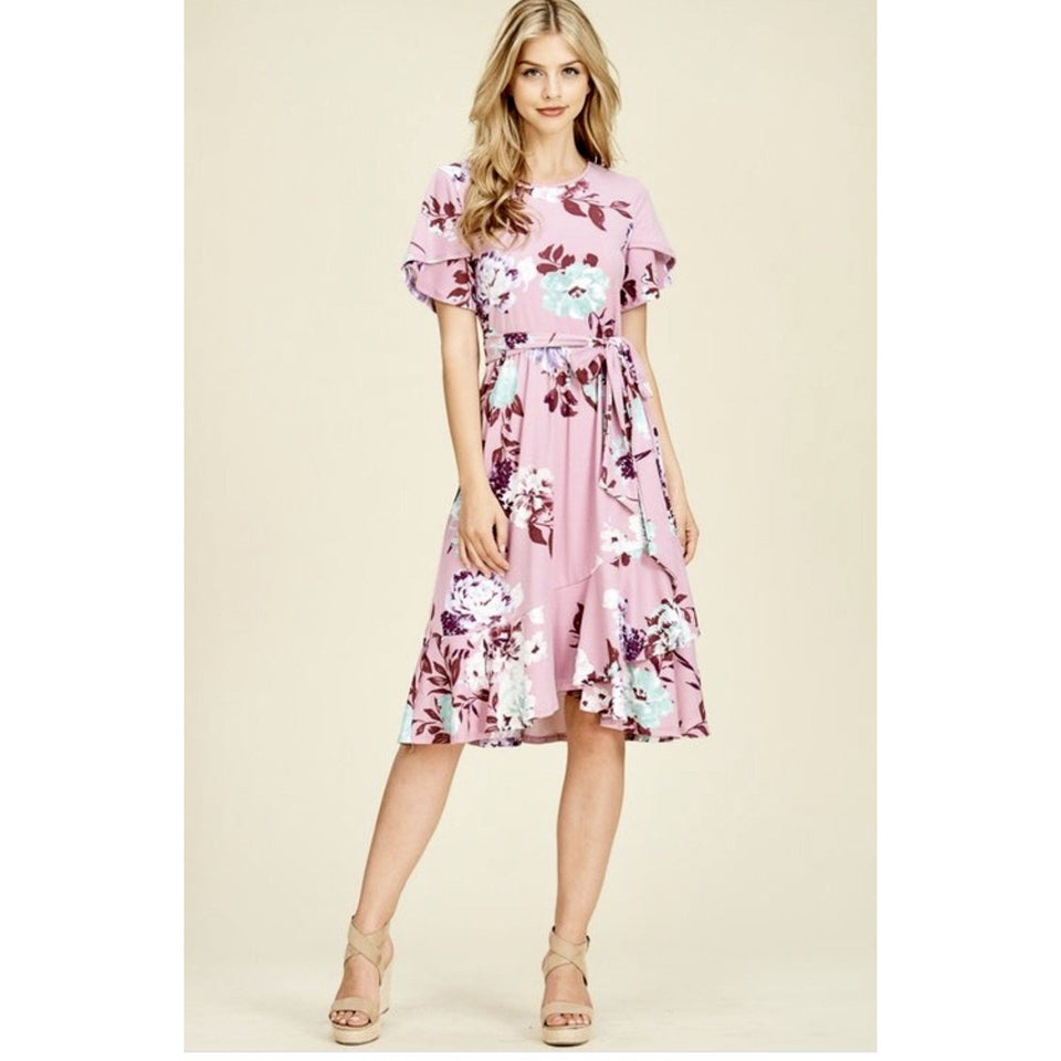 Mauve Flower Dress - MODESTALINDA